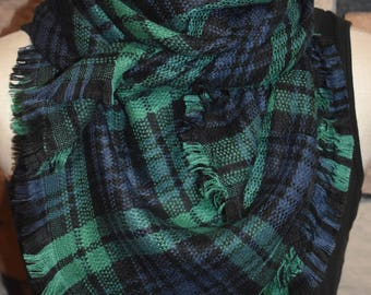 Child Size Navy and Green Plaid Tartan Blanket Scarf  Plaid Scarf Christmas Gift Scarves Plaid 2017 Blanket Scarf Favorite-Accessories