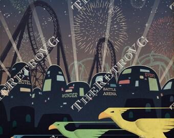Final Fantasy VII Gold Saucer Travel Poster