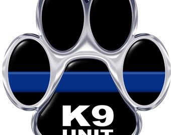 Silver K-9 Unit Thin Blue Line Paw 2 Inch Reflective Decal SKU: D1165-D2