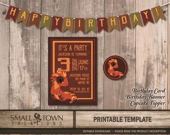 Instant Download, Editable Dragon Birthday Invitation, Card template