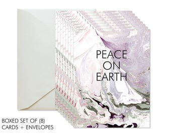Boxed Set of 8 Christmas | Holiday Marble Green/Grey + Violet Greeting Card / Seasonal / Peace On Earth / Merry Christmas