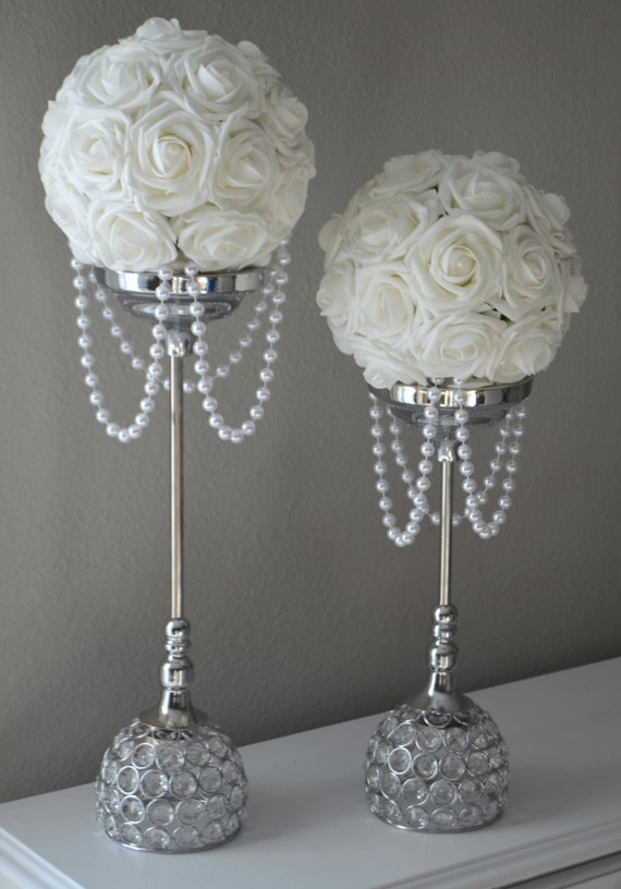 pearl wedding decor white flower with draping pearls wedding decor bridal 6423