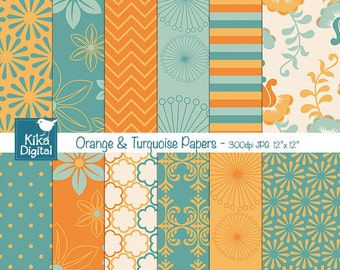 Orange and Turquoise Digital Papers - Digital Scrapbooking Papers - card design, invitations, background, paper crafts - INSTANT DOWNLOAD