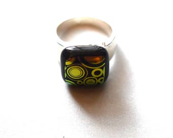 Unique Ring In A Design Of Circles In Orange/Gold Dichroic Glass And Silver Plated Ring Band