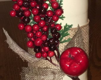 Berries & Apple Decorated Wine Bottle