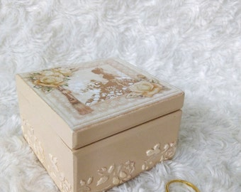 Gift for her Wedding ring box  Wooden box for ring engagement box ring pillow box Roses box Ring Bearer Bridal box love box Proposal gift