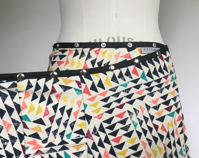 Pocket Skirt, Snap Skirt, Adjustable Wrap Skirt, Erin MacLeod, vacation skirt, cute skirt, phone pocket, colorful summer cotton skirt, plus