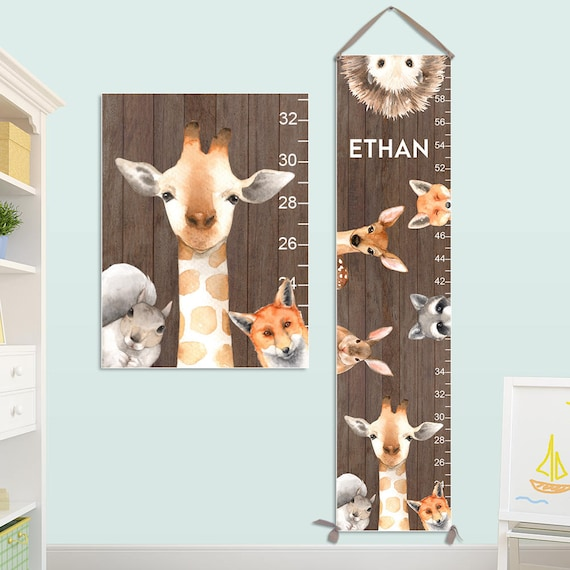 Growth Chart for Boys - Personalized Canvas Growth Chart with Woodland Animals, Woodland Nursery, Giraffe Growth Chart - GC4008N, X