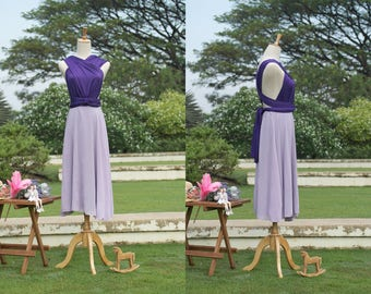 Convertible Dress With Chiffon Overlay in Purple