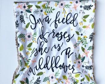 WILDFLOWER >> baby boy blanket, baby girl blanket, soft cuddle blanket, minky blanket, stroller blanket, faux fur blanket, pla