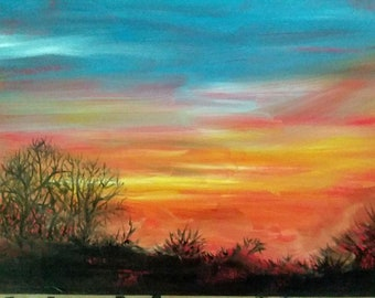 "Sunset Landscape Painting Oil Painting, Landscape At Sunset 8"" X 10"" Landscape Trees Sunrise Landscape"