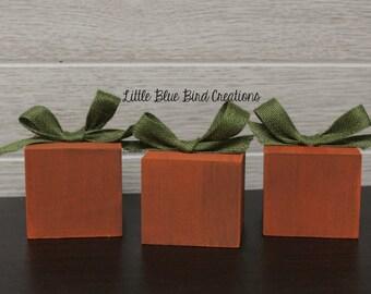 Little pumpkins wood block set - family blocks - pumpkin patch - wooden pumpkin - fall decor