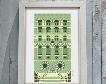 Art giclee print, The Granary, Welsh Back, Bristol UK. Green brick building, Byzantine style.
