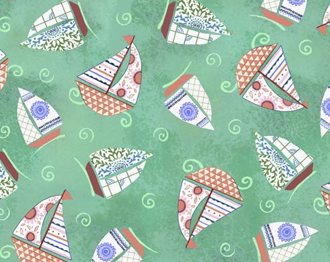 DREAM BOATS - Sailboat Toss in Green - Sailboats Boat Boats - Cotton Quilt Fabric - Quilting Treasures Fabrics - 24344-Q (W4060)