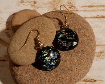 Round Gold, Black, Blue Crinkle dichroic Fused Glass Dangle Earrings - FG-052