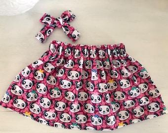 Panda love skirt, optional bow/suspenders, toddler skirt, baby skirt, trendy, jumper