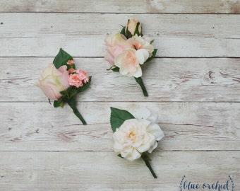 Pink Peach Boutonniere, Silk Boutonniere, Wedding Boutonniere, Boutonnieres, Wedding Flowers, Rustic Wedding, Pink, Peach, Cream, Boho