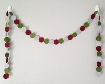 Christmas Felt Garland, Christmas Circle Garland, Red.Green.Gray Christmas Garland, Christmas Decor
