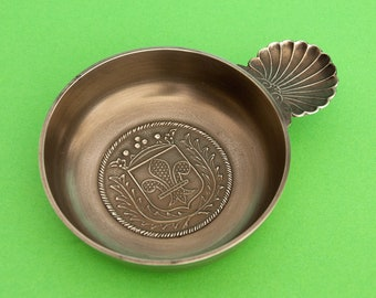 French vintage pewter tastevin with a Fleur-de-Lis motif