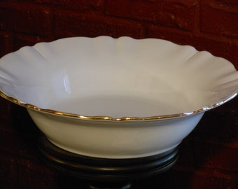 CIC (Certified International Corporation) Large White Bowl with Gold Rim. Italian.