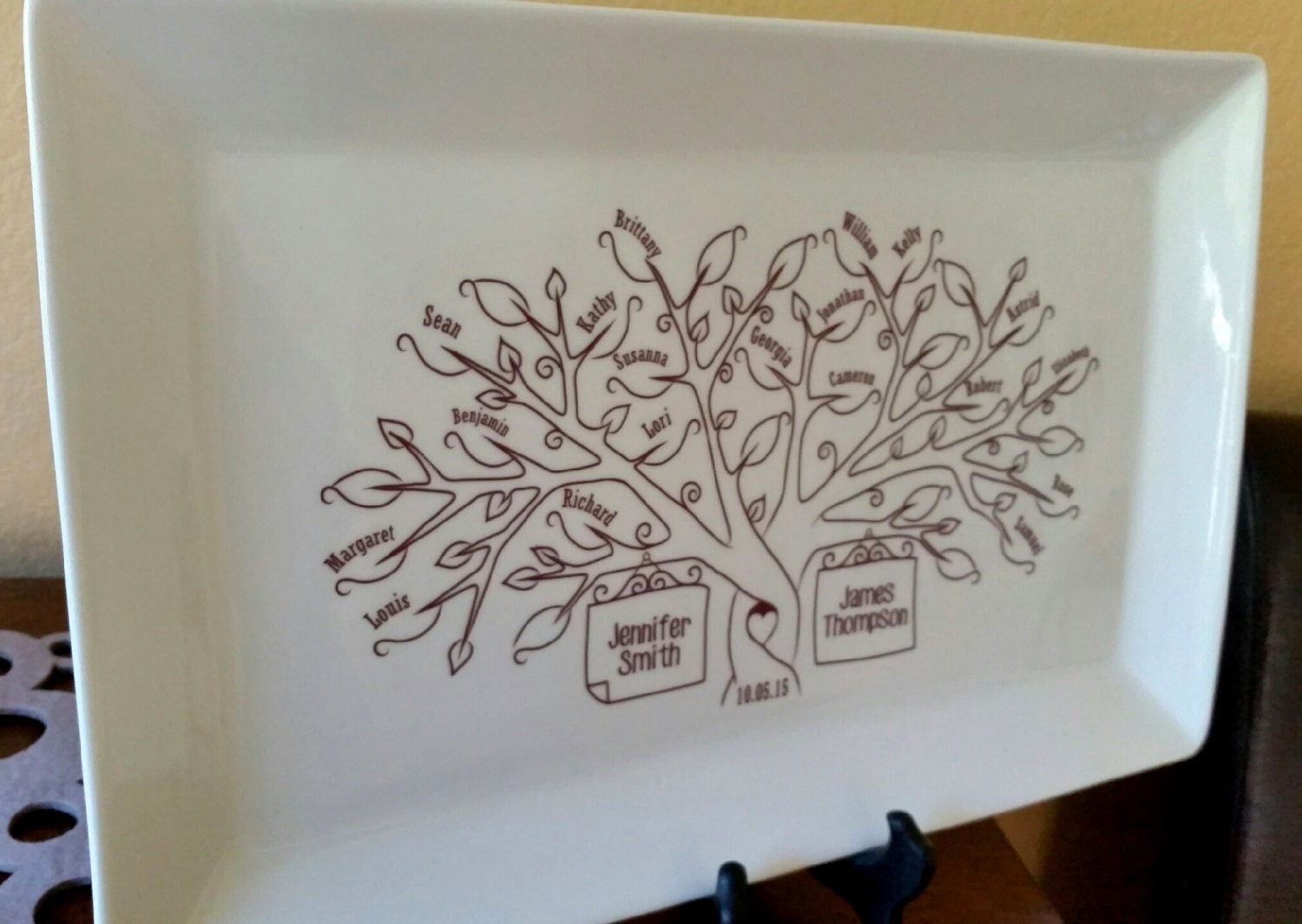 Family Tree Wedding Gift: Large Family Tree PlatterBride And Groom Wedding Gift For