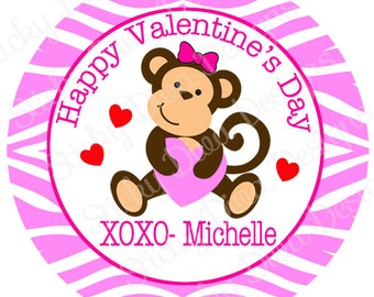 PERSONALIZED VALENTINE STICKERS - Sweet Zebra Monkey Girl  - Round Gloss Sticker Labels