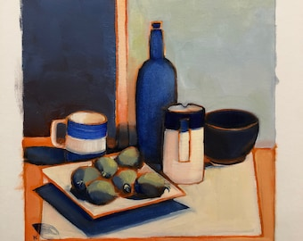 Still life with Feijoas; Original oil painting on A3 paper, one of a kind;