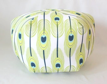 Feathers Floor Pouf / Green or Blue / Foot Stool / Floor Pillow / Ottoman / Floor Cushion / Fabric Stool / Dorm Decor