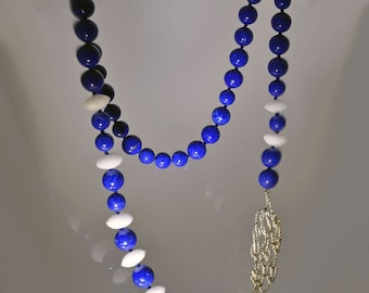 "Lapis lazuli necklace with ""Cime d'argento (Silver Ropes)"""