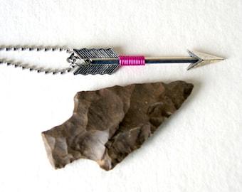 Fuchsia Wire Wrapped Silver Arrow Necklace