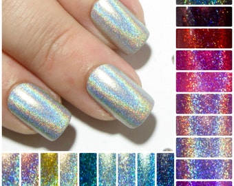 Square Fake Nails - Holographic False Nails - Short Press On Nails - Petite Artificial Nails - Holo Acrylic Nails - Faux Nail Set