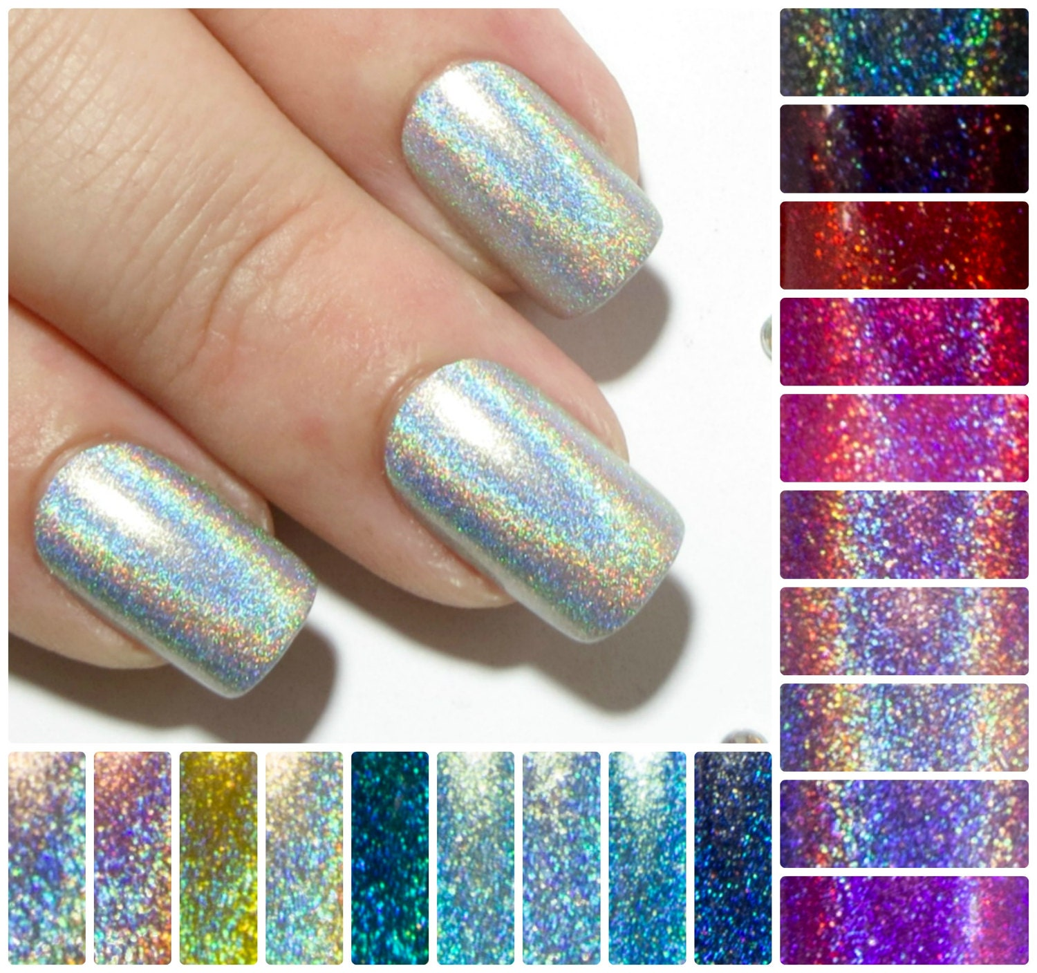 Square Fake Nails - Holographic False Nails - Short Press On Nails ...