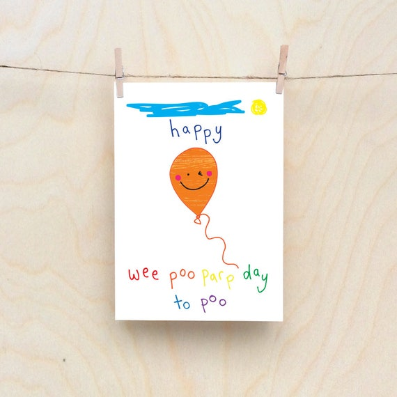 Poopy Balloon, Rude kids cards, Silly Children's cards, Toddler rude words card. kids birthday card, funny kids card. funny birthday card.
