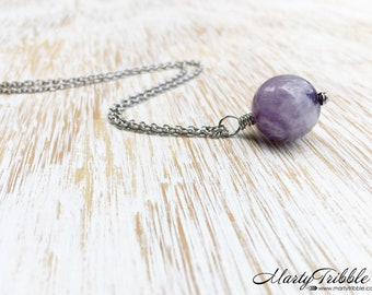 Amethyst Necklace, February Birthstone Necklace, Amethyst Jewelry, Healing Crystal Jewelry, Stainless Steel Jewelry Purple Gemstone Necklace