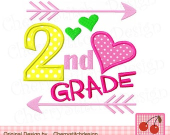 "2nd Grade Second Gade School Machine Embroidery Applique Design SCH007-4x4 5x5 6x6"""
