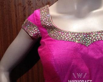 Beautiful kundan work saree blouse