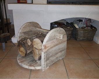 Log basket reclaimed wood pallet for logs of 33cm