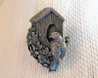 Birds & Blooms 1997 Bluebird Bird house Pewter Pin Ltd Edition, Vintage Designer Brooch, Bird Jewelry Gift for Her