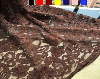 Premium Corded Floral Lace Fabric with Scalloped Edges - Brown Lace Fabric - Maroon Lace Fabric - Scalloped Lace Fabric - Floral Lace 15F6