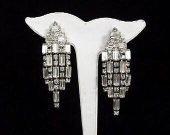 Vintage 1940's Clip Earrings - Statement Rhinestone Earrings - Waterfall Earrings - Chandelier Bridal Earrings - Diamante Earrings - Wedding