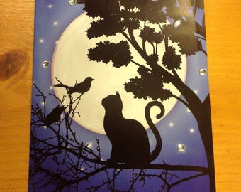 "Card ""cat in the night"" - handmade - for any occasion"
