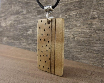 Mens Wood Necklace, Abstract Wood Pendant On Leather Necklace, Gift for Men