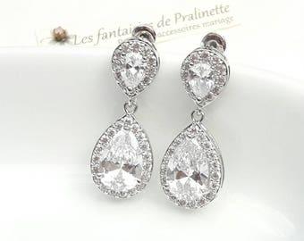 Bridal earrings teardrop, rhinestones bridal earrings, bridal jewelry, CZ bridal earrings, cubic zirconia earrings, crystal earrings, studs