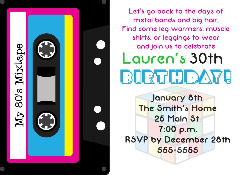 80\'s Theme 30th Birthday Party Invitation