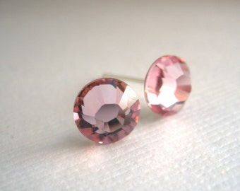 Pink Stud Earrings, Pink Earrings, Soft Pink, Crystal Earrings Swarovski Crystal, Light Rose, Wedding, Bridesmaid Earrings, Bridesmaid Gift