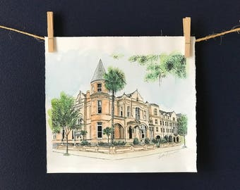 The Mansion on Forsyth Park Savannah Watercolor Print Drawing