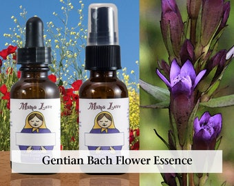 Gentian Flower Essence, 1 oz Dropper or Spray for Resilience, Confidence, Perseverance