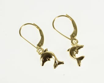 10K High Relief Dolphin Dangle Lever Back Earrings Yellow Gold