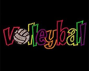 Adult volleyball neon rhinestud tee a11195b