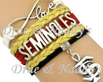 Florida State Seminoles Football Infinity Leather Bracelet Charm